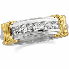 14kt White & Yellow Polished GENTS DIAMOND RING