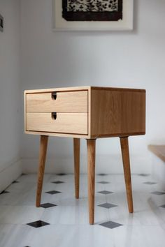 Mid Century Modern Solid Oak Nightstand with Double Drawers - Mid-Century Scandinavian Side Table / Nightstand – One or two drawers and retro legs made of soli - Modern Bedside Table, Modern Table, Mid-century Modern, Bedside Tables, Vintage Modern, Mid Century Modern Side Table, Contemporary, Vintage Furniture, Wood Furniture
