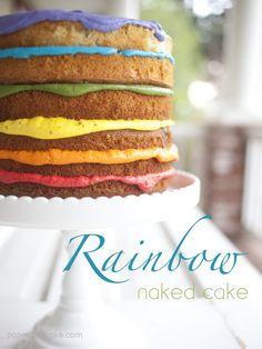Paper & Cake -printable partyware- Naked Rainbow cake recipe and how-to