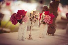 Bridal table decorations  #wedding #reception #rustic #bridaltable #peonies #tabledecorations