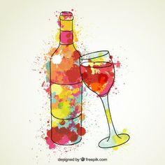 Botella de vino y copa de vino de la acuarela