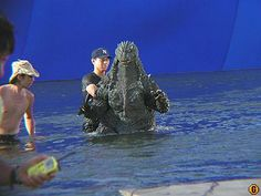 In the big pool at Toho (now gone) for Godzilla 2002.