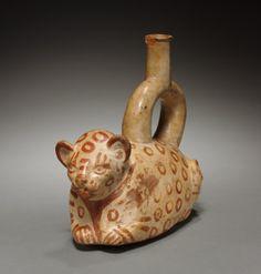 Stirrup Spouted Vessel of Feline Form, 1st millenium Peru, Mochica