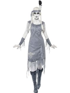 The Indian Princess Halloween Costume includes a grey dress with grey gauze detailing and an eagle printed on the skirt. Description from joke.co.uk. I searched for this on bing.com/images