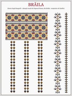 Semne Cusute: ie din MUNTENIA, Braila Embroidery Sampler, Folk Embroidery, Modern Embroidery, Embroidery Stitches, Embroidery Patterns, Cross Stitch Patterns, Machine Quilting Patterns, Quilt Patterns, Embroidery Techniques