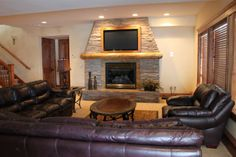 Stone Fireplace with TV | Large Bear Lake Utah Vacation Homes and Vacation Rentals – Bear Lake ...