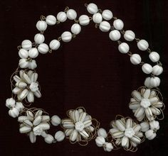 VINTAGE HASKELL BEADED & WIRED FLOWER NECKLACE BRACELET Glass Beads