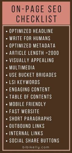 ON-PAGE SEO CHECKLIST | When creating content, make sure to always optimize it for SEO. | Content Marketing for Bloggers
