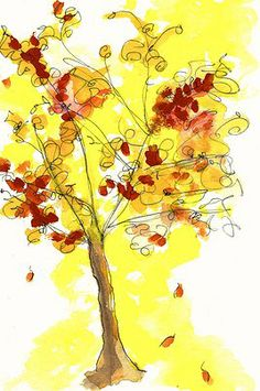 """AUTUMN TREE """"The Beautiful Book of ABC"""" Watercolor and Ink on Paper"""