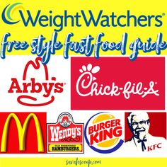 Weight Watchers Fast-Food-Freestyle-Guide - Recipes to Cook - Lebensmittel Weight Watchers Snacks, Weight Watchers Tipps, Weight Watchers Meal Plans, Weight Watcher Dinners, Weight Watchers Smart Points, Weight Watchers Restaurant Points, Weight Watchers Program, Weight Watcher Smoothies, Freestyle