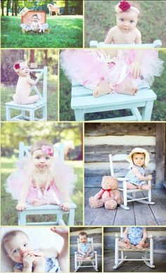 1 Year Photo Shoot Idea - Pinned for the chair poses.
