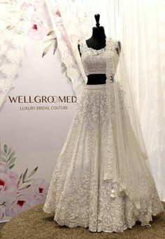White Sleeveless Scalloped ... Wedding Lehenga Designs, Wedding Lenghas, Indian Bridal Outfits, Bridal Dresses, Reception Gown, American Wedding, White Bridal, Indian Clothes
