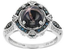 2.73ct Blue Star Sapphire With .26ctw Round Blue And .11ctw White Diamonds 10k White Gold Ring