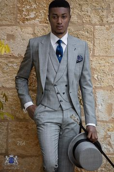 Schottenmuster grau Cut Bräutigam Anzug