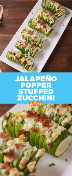 Just because you're on a diet doesn't mean you have to give up Jalapeno Poppers. Get the recipe at Delish.com. #jalapeno #jalapenopopper #zucchini #recipe #easyrecipe #healthy