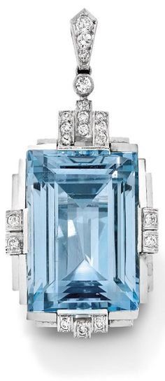 An Art Deco aquamarine and diamond pendant, 1930. The step-cut aquamarine within a polished stepped frame set with brilliant-cut diamond accents to a similarly cut diamond surmount and bail, French essay marks