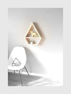 LARGE Geometric Shelf . Diamond Shelving . Handmade Decorative Shelf . Rustic . Modern