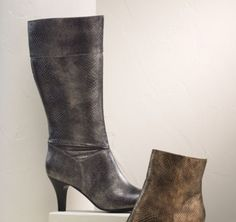 Rambling Boot from Midnight Velvet®. A mottled metallic finish gives these boots a revved-up style, and the elastic gore creates ease for great fit.