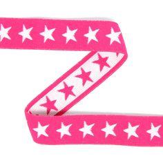 Gumová stuha Hvězdičky 5 (20) - Polyester - Polyamid - Lycra - hot pink - bílá