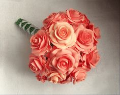 Salmon rose wedding bouquet   coral  Bridal от FlowersofSharon, $95.00
