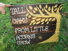 Wood sign children wall art nursery wall decor, Rustic nursery decor Woodland Nursery art Tall oaks from little Reclaimed wood quote mustard on Etsy, $62.00