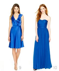 J Crew blue dresses... I like the one on the left Lace