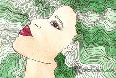 RETRATOS SIMPLES   Lola Kabuki  #love #art #watercolor #paintings #illustration