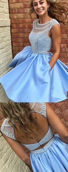 Fabulous Sleeveless Beaded Short Prom Dress Homecoming Dress, SH289 #Homecomingdresses #Partydresses #Graduationdresses #Shortpromdresses #Simidress