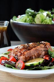 The Stay At Home Chef: Balsamic Glazed Salmon Salad  Spinach and lettuce chopped with grapes, flax seed, chia seed, cucumbers and tomatoes.   Loved this one!!!