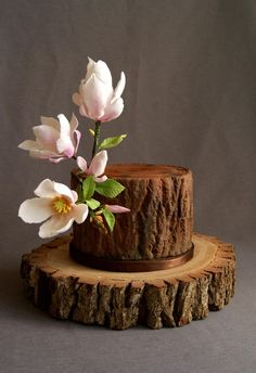 Tree trunk cake design decorated with pink gumpaste magnolias Cupcakes, Cupcake Cakes, Cake Icing, Fondant Cakes, Beautiful Cakes, Amazing Cakes, Tree Stump Cake, Woodland Cake, Cake Central