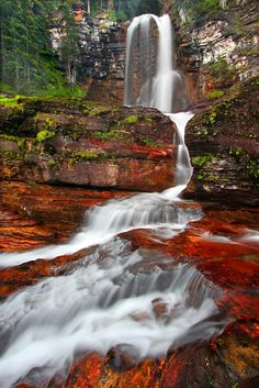Glacier National Park, Montana--Nature showing off with a splash of color. Beautiful Waterfalls, Beautiful Landscapes, Beautiful World, Beautiful Places, Beautiful Pictures, Places Around The World, Around The Worlds, Landscape Photography, Nature Photography