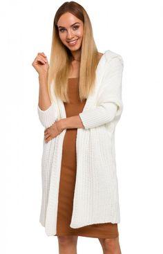 MOE Długi sweter z kapturem M475 ecru Dresses, Fashion, Tunic, Gowns, Moda, Fashion Styles, Dress, Vestidos, Fashion Illustrations
