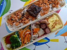 - Salmon Flake Rice with Plum Pickles  - Fresh Tomato, Pickles and Boiled Broccoli  - Sweet Vinegar Radish with Carrot  - Stewed Mix Vegetables(Radish, Taro, Carrot and Squid )  - Beef Sausage  - Rolled Omelet