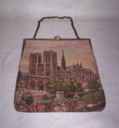 Vintage Delill Notre Dame Tapestry Handbag Purse w Original Tag