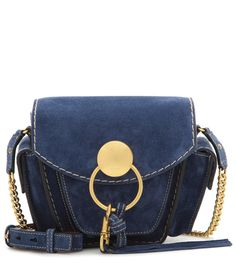 Chloé - Jodie Small suede shoulder bag - Chloé's brand-new 'Jodie' design draws inspiration from classic, retro camera bags. We love this style's navy suede fabrication - supremely chic against the gold-tone hardware. seen @ www.mytheresa.com