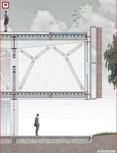 Galeria - Menção Honrosa no Concurso CBCA / Alexandre Engel, Lucas Sulzbach… Cantilever Architecture, Architecture Plan, Architecture Details, Chinese Architecture, Futuristic Architecture, Column Structure, Steel Structure, Planer Layout, Architectural Section