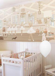Little hands illustrations wallpaper. Ballerina baby girl's room.