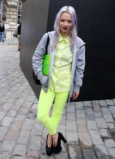 London Fashion Week SS12 Street Style - Can never get enough neons!