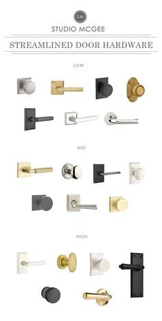 Studio McGee's Favorite Interior Door Hardware Click through for a round-up of our favorite interior door hardware! Black Door Hardware, Sliding Door Hardware, Window Hardware, Home Hardware, Exterior Door Hardware, Baldwin Door Hardware, Rustic Hardware, Bathroom Hardware, Sliding Doors