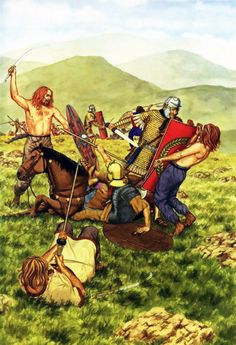 Melee combat between Celts and the Romans