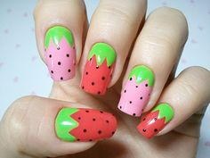 strawberry nails. These look too easy and too cute not to try!