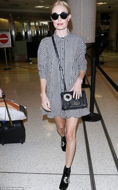 Back home: On Saturday, Kate Bosworth, 34, made a stylish returned to LAX following a whirlwind week in New York