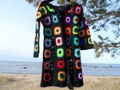 Crochet hippie boho bohemian 1960-s black by krittenart on Etsy