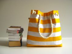 Sailor Tote Bag --for market or beach or gym-yellow and white bold striped, X-Large and cotton rope straps-. $33.00, via Etsy....but navy