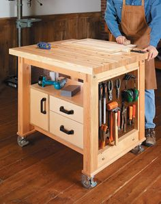 Woodworking is a job, for which one requires to work with precision and skill. Mistakes during woodworking may spoil the whole piece. In woodworking, there are some things, which should be done repeatedly. woodworking jigs are tools, Workbench Plans, Woodworking Workbench, Woodworking Workshop, Rolling Workbench, Woodworking Hand Tools, Woodworking Projects That Sell, Woodworking Shop, Woodworking Machinery, Woodworking Videos