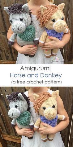 horse pattern Amigurumi Horse and Donkey - A Free Crochet Pattern Crochet Horse, Crochet Bear, Easy Crochet, Free Crochet, Crochet Birds, Crochet Food, Crochet Animal Patterns, Crochet Patterns Amigurumi, Crochet Animals