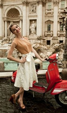 My heart captured in one picture! Trevi fountain, Vespa, skirt with bow, cute heels. Andiamo a Roma!