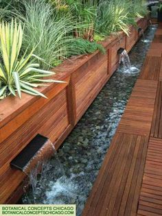 Steal these cheap and easy landscaping ideas for a beautiful backyard. Get our best landscaping ideas for your backyard and front yard, including landscaping design, garden ideas, flowers, and garden design. Water Features In The Garden, Outdoor Water Features, Wall Water Features, Garden Borders, Wood Garden Edging, Wooden Garden, Outdoor Projects, Diy Projects, Garden Projects