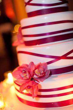 Elegant ribbon cake.