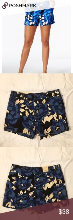 New! Tommy Hilfiger floral shorts NWT Tommy Hilfiger floral chino shorts! They're blue, black, and white. 5 inch inseam. 2 pockets in the front. These would look so cute with a white tank top and some flip flops for the summer! Wait measurement photo added for sizing help!  Material: 100% cotton Tommy Hilfiger Shorts